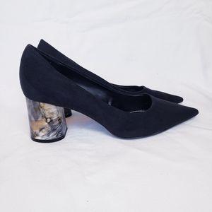 Zara Suede Pointed Toe Tortoise Heel Pumps Black